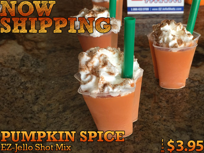 Coming soon - Pumpkin Spice EZ-Jello Shot Mix!