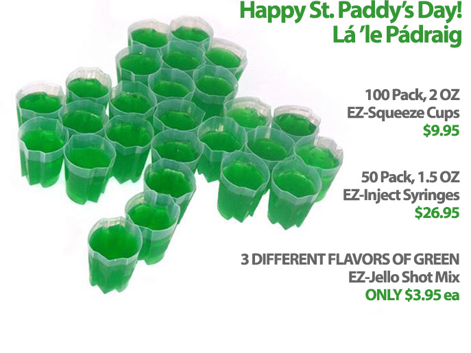 EZ-Squeeze Jello Shot Cups for St. Patrick's Day!